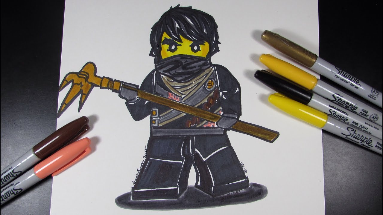 how to draw ninjago cole the black ninja lego speed draw 34 youtube
