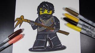 How to draw Ninjago Cole the Black Ninja - Lego Speed Draw #34