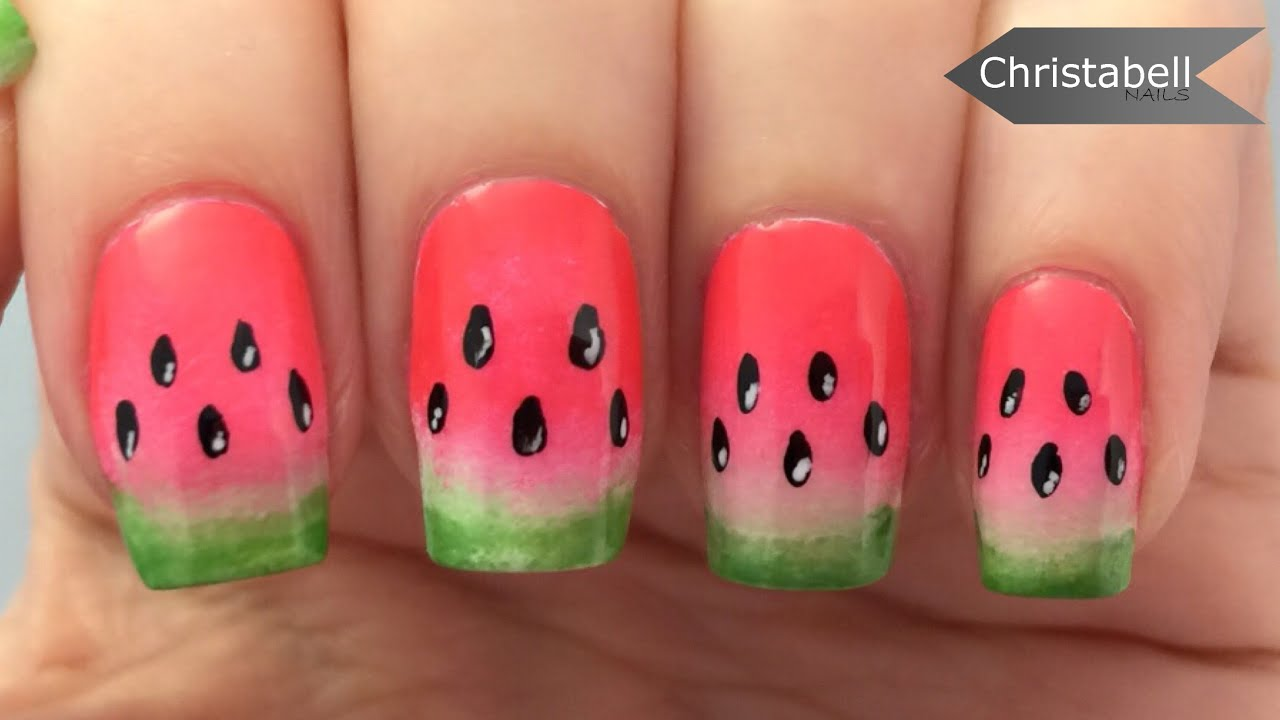 Easy watermelon nail art tutorial youtube prinsesfo Images