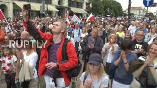 Poland: Hundreds rally demanding Duda veto judicial reform in Warsaw