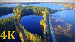 Flying above Finland 4K Punkaharju Ridge autumn colors