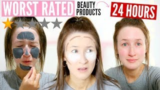 I Only Used WORST RATED Beauty Products For 24 HOURS... | Sophie Louise