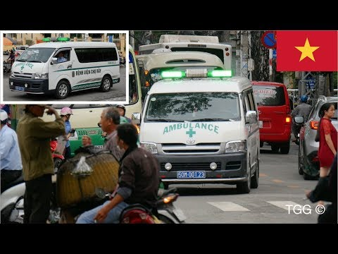*GREEN Lights!* Mechanical Siren + Yelp (Vietnam) Ambulance Responding [Ho Chi Minh City]