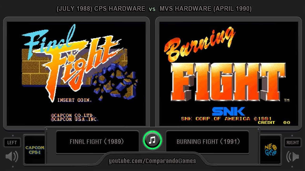 Final Fight vs Burning Fight (Arcade vs Arcade - CPS vs MVS) Side by Side  Comparison