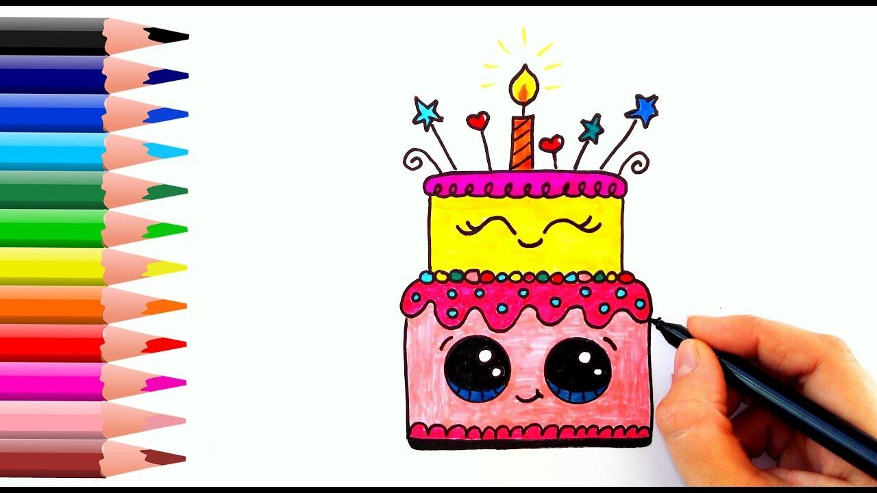 How To Draw A Birthday Cake Dogum Gunu Pastasi Nasil Cizilir