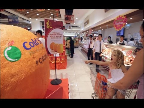 Gigantic 3D Mandarin Orange at Cold Storage Great World City