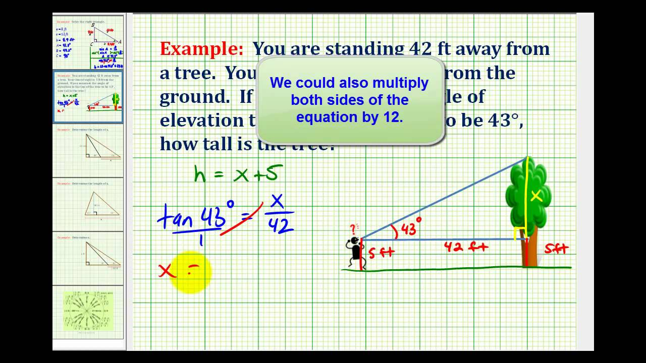 Example determine the height of an object using a trig for Find a builder
