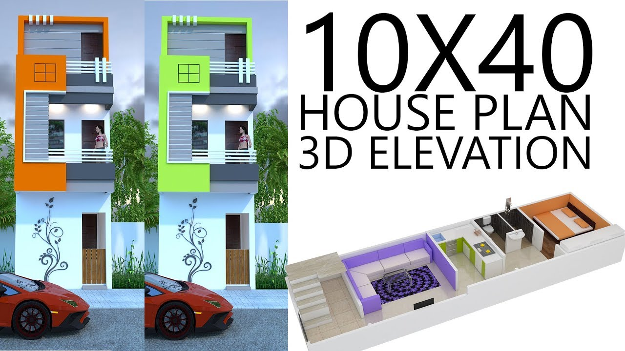 10X40 House plan with 3d elevation by nikshail - YouTube