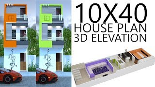 10X40 House plan with 3d elevation by nikshail