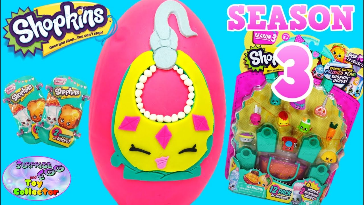 SHOPKINS Giant Play Doh Surprise Egg Season 3 LIMITED EDITION Ruby Earring Baskets And 12 Pack