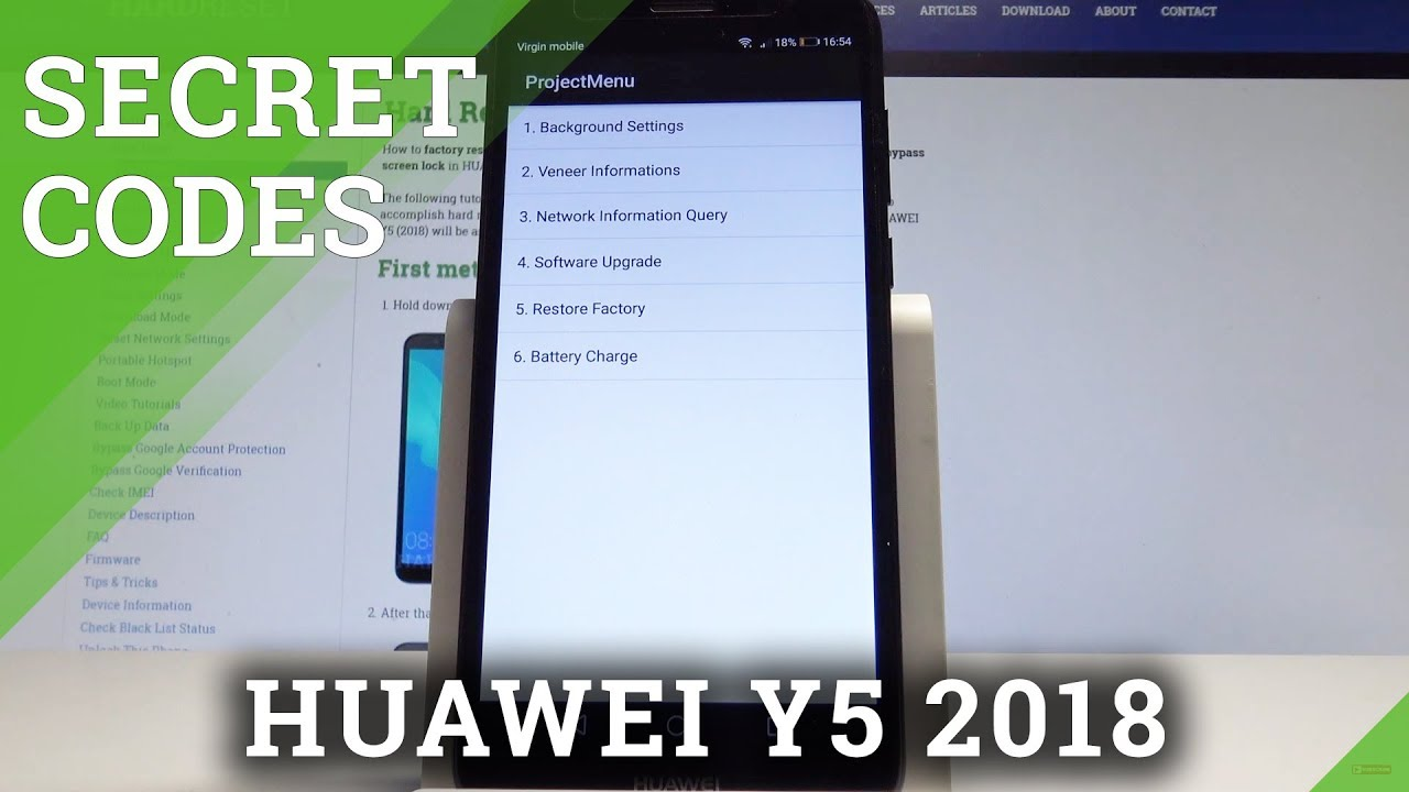 Secret Codes HUAWEI Y5 2018 - Hidden Mode / Testing Menu