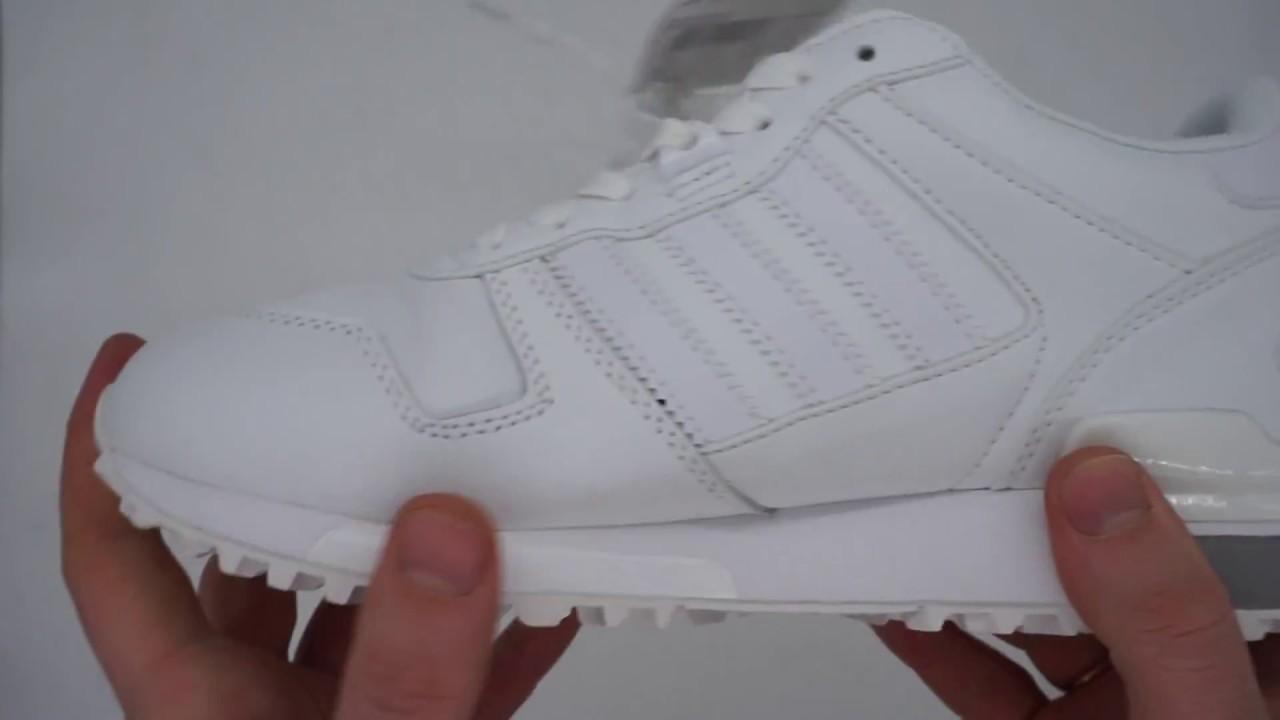 finest selection aba9b cc123 Кожаные белые женские кроссовки Adidas zx700 - Топ качество!