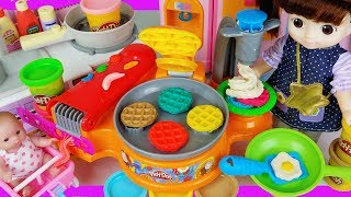 Baby doll food Kitchen and play doh cooking toys play house story - ToyMong TV 토이몽