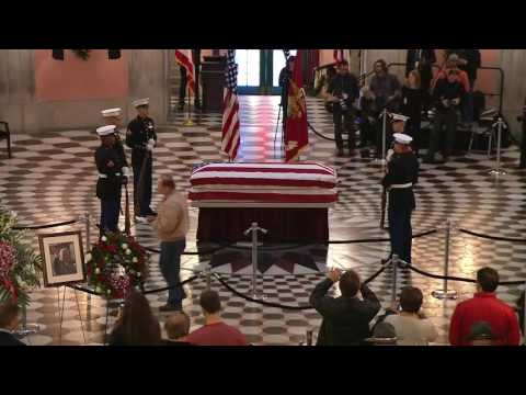 Former NASA Astronaut and U.S. Senator John Glenn Lies in State at Ohio Capitol