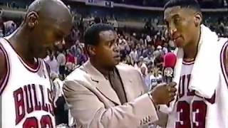 Michael Jordan & Scottie Pippen   Interview (1998) Post-Game   Eastern Conference Finals   Game 1