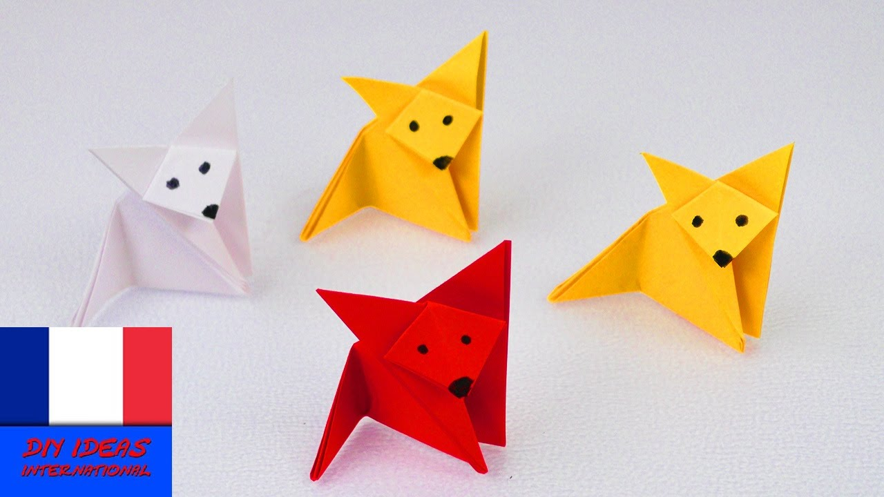 Renard en pliage origami fox super simple super mignon id e brico - Pliage origami simple ...