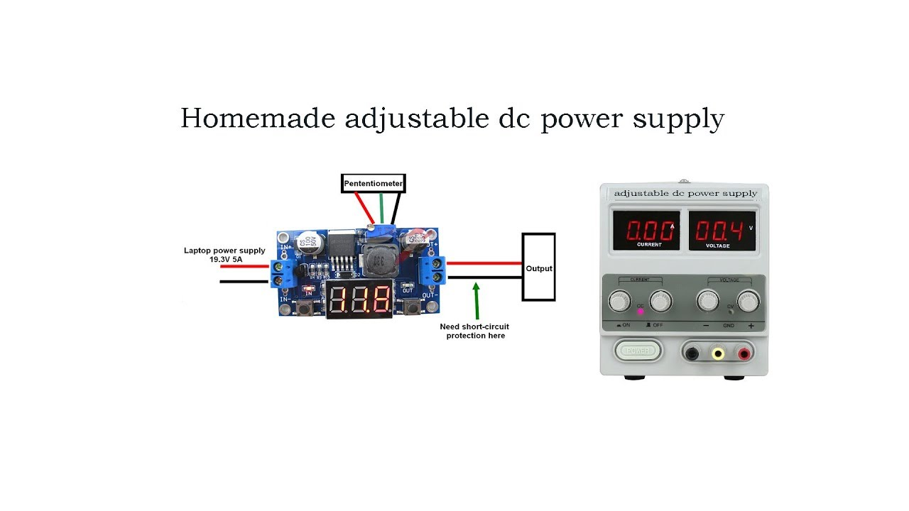 homemade adjustable dc power supply with lm2596 [ 1280 x 720 Pixel ]