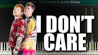 Ed Sheeran & Justin Bieber - I Don't Care - Piano Tutorial + Sheet