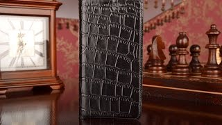 Фирменный чехол-книжка с подставкой для Samsung Galaxy A3 (2016) кожа крокодила черный