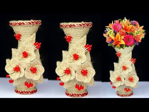 Flower Vase Making from Jute Rope   Handmade Flower Vase Making at Home   Best Jute Decor Idea