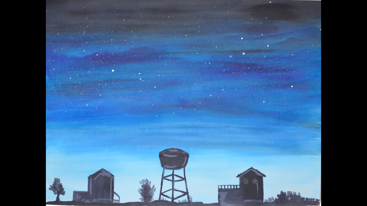 painting sky at night poster colours youtube