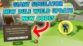 *DUEL WIELD NEW SECRET CODES* GIANT SIMULATOR CODES ROBLOX