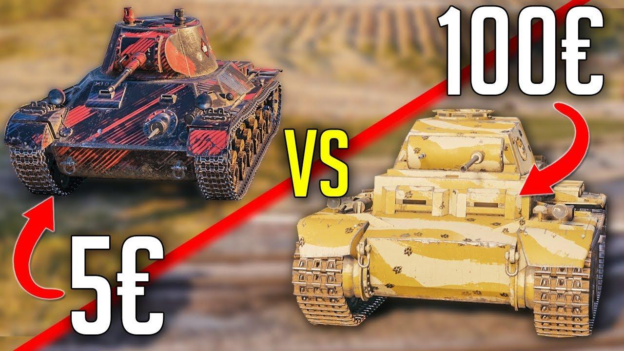 5€ vs 100€ Premium Tank in World of Tanks: T-127 vs Panzer II J