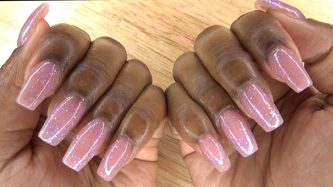 Acrylic Nails Short Glitter Step By Lication Longhairprettynails You