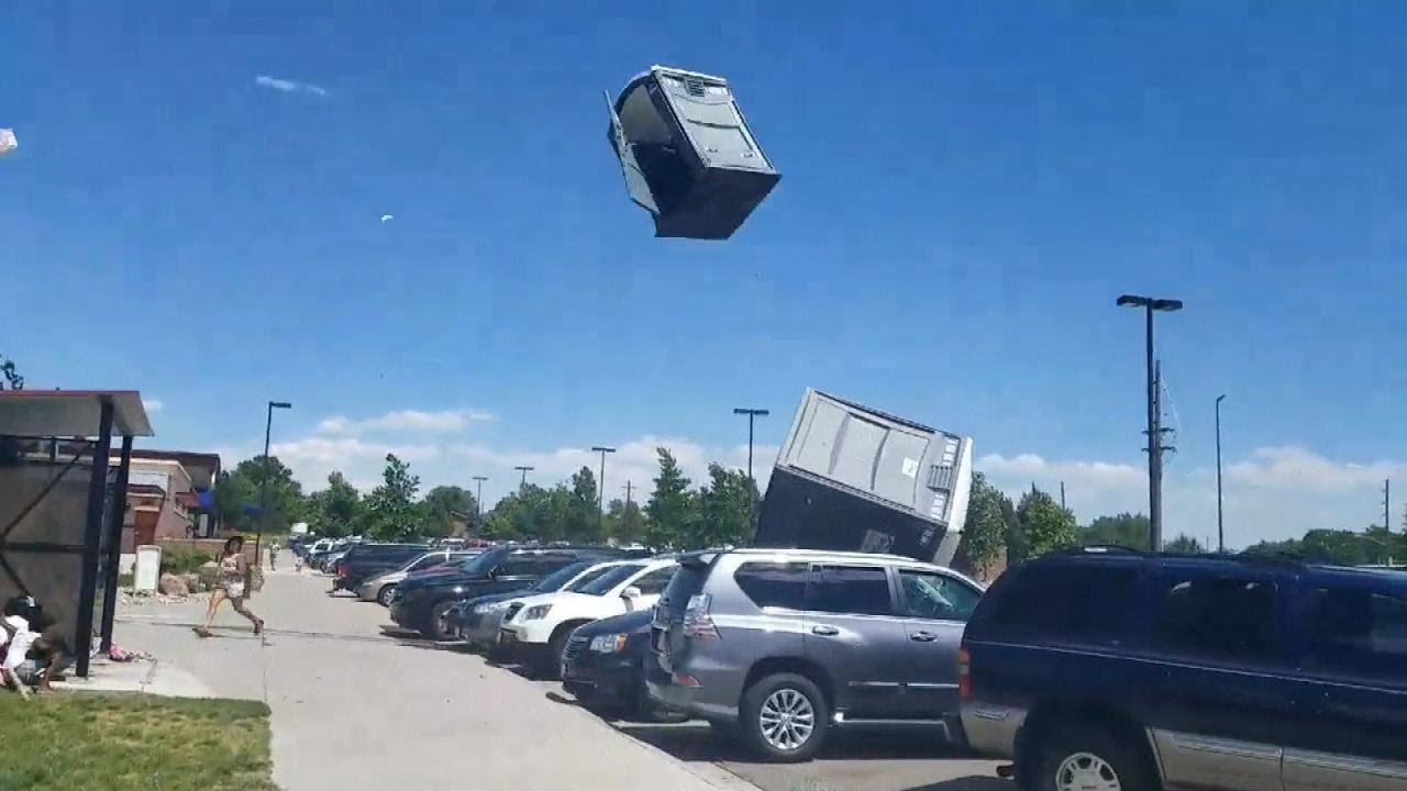 Wind Sends Porta-Potties Flying at Denver Park - YouTube