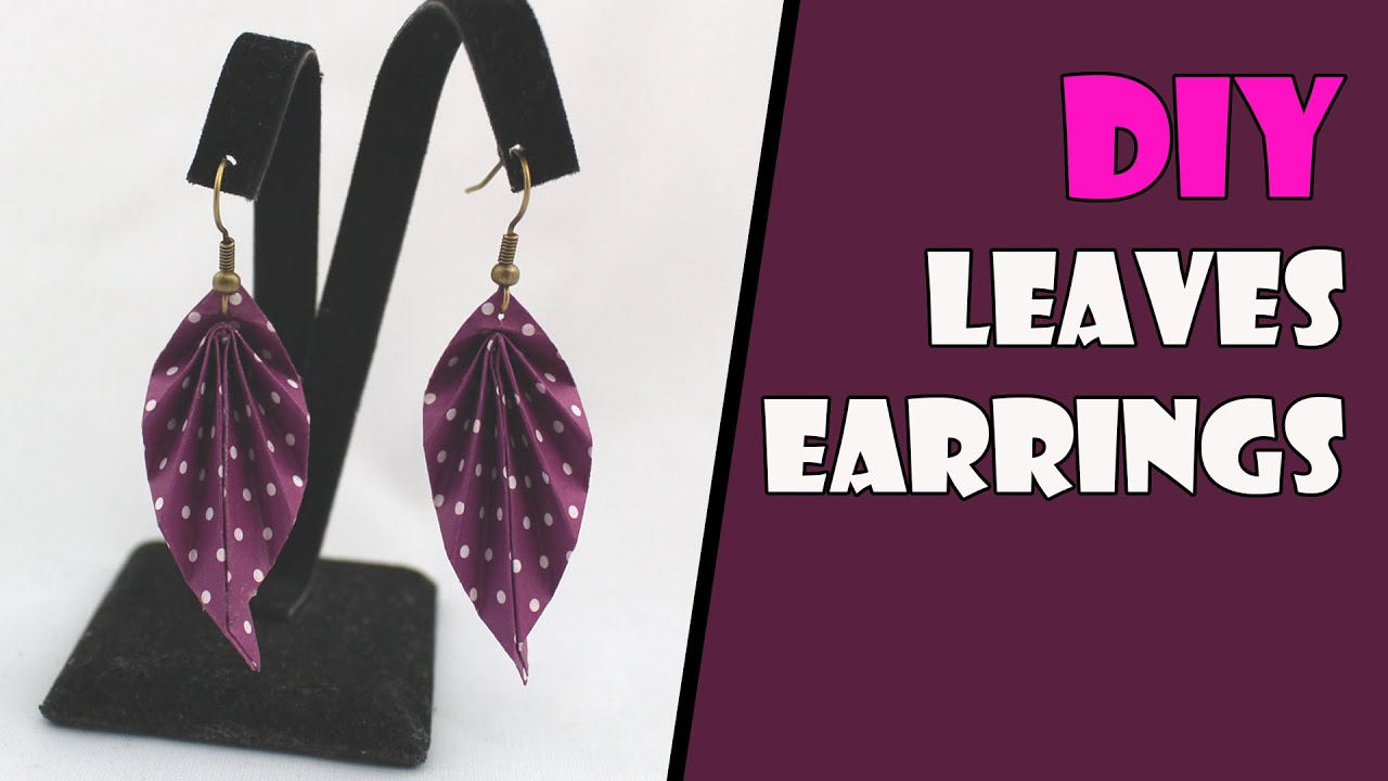 DIY Origami Earrings Leaves Jewelry Instructions