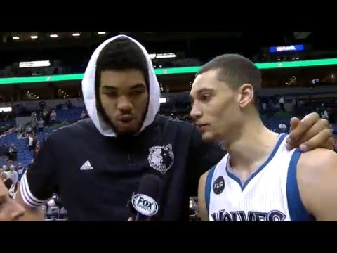 Karl-Anthony Towns crashes Zach LaVine's postgame interview