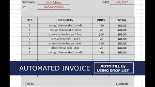 How to Create a Simple and Automated Invoice in Excel w/ Drop List