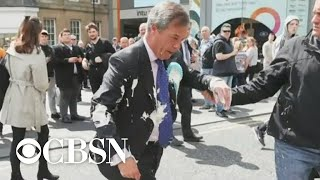 U.K. protesters throw milkshakes at right-wing politicians