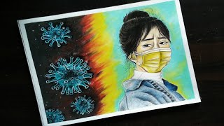 Drawing of coronavirus / How to draw Coronavirus /Coronavirus Prevention Awareness Drawing -steps