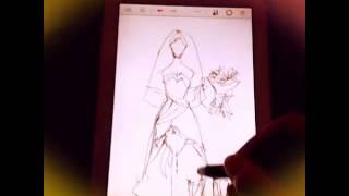Рисую свадебное платье в программе:sketch book Pro
