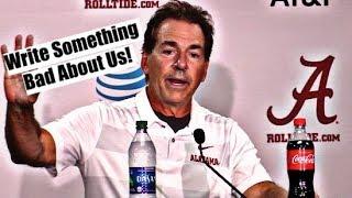 Alabama Crimson Tide Football: Nick Saban asks media to write something bad about Alabama Football