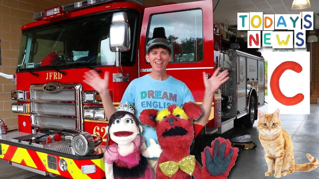 Today's News Show With  Matt   Fire Truck & Letter C   Learn English Kids