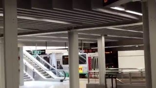 Green Line trains at the newly renovated Government Center Subway Station, Boston, MA