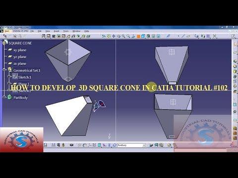 HOW TO DEVELOP A BASIC GENERAL SQUARE CONE 3D    3 DIMENSTIONAL MODEL IN CATIA TUTORIAL #102