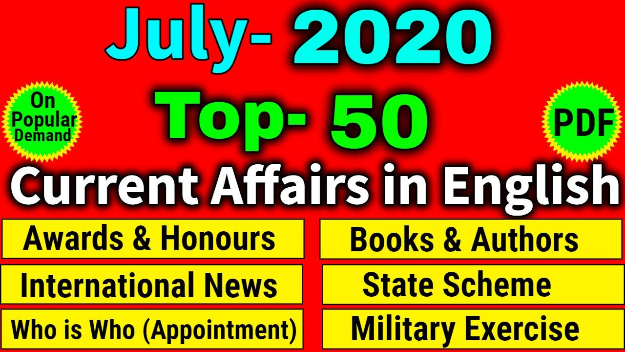 2020 Current Affairs in English | Current Affairs 2020 Monthly in English | UPSC, Railway, banking