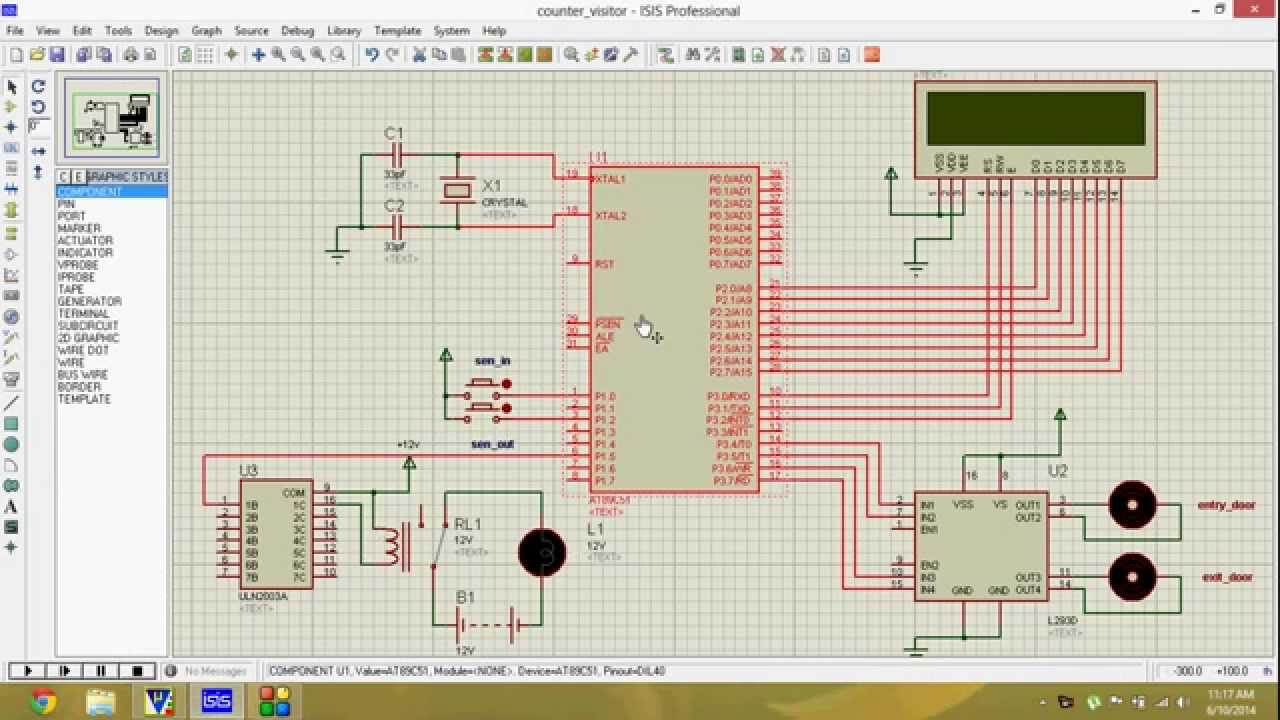 Visitor Counter With Automatic Entry And Exitcode Design Youtube Temperature Indicator Using Microcontroller At89c52 Schematic