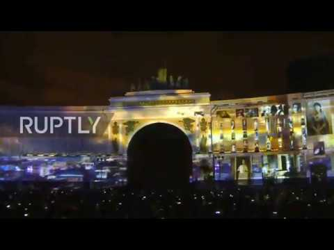 Russia: St. Petersburg Palace lit up by projections on Russian Revolution centenary