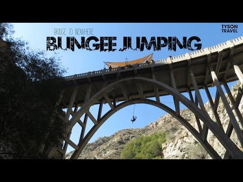 """Bungee Jumping at the """"Bridge to Nowhere"""" Los Angeles Hike"""