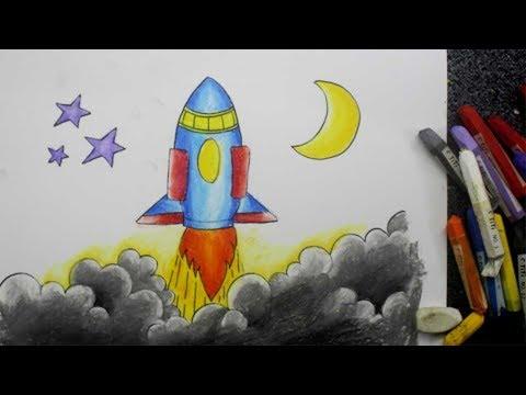 Cara Menggambar Dengan Krayon Roket Youtube