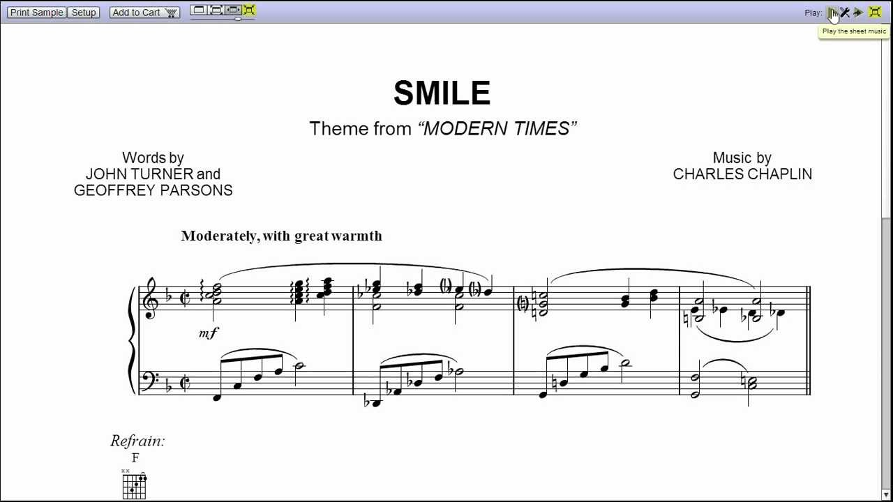 Smile By Nat King Cole Piano Sheet Music Teaser Youtube