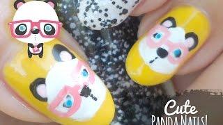 Cute Nerdy Panda Nail Art ☆ using pink glasses!