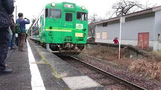 会津中川駅 風っこ只見線ストーブ列車 到着