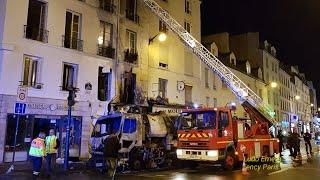 Pompiers de Paris incendie de Balayeuse Mairie .  Paris Fire Dept on scene Street Sweeper fire