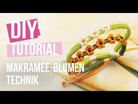Schmuck machen: Makramee-Blumen-Technik DIY ♡ DIY