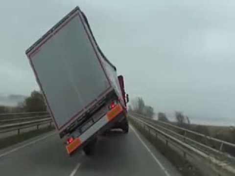 Windstorm flips over a Truck - Germany - October 28, 2013